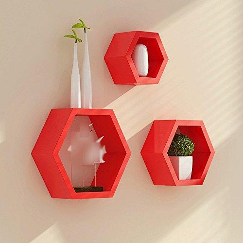 DFHHG® Auf der Wand Gebrauchsgut-Regal Modernes einfaches Schindel-Wohnzimmer-Dekoration-Wand-Regal Wand-hängende hängende Wand-Regale Stark und langlebig ( Farbe : Rot )