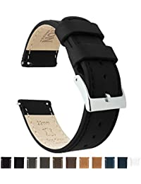 BARTON Quick Release Top Grain Leather Watch Straps - Choose Colour & Width (18mm, 20mm or 22mm) - Black 22mm Watch Band