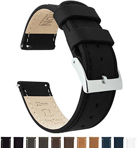 Barton Watch Bands Schnellverschluß. - Top Marke Leder Uhrenarmbänder - Wahl der Farbe und Breite (18mm, 20mm or 22mm) Schwarz Leder und Naht 20mm Uhrenarmbänd