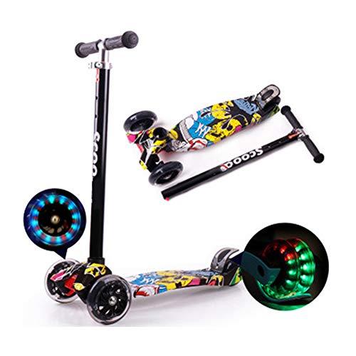 LXFDS Graffiti Kinderroller 3-6-12 Jahre alt Allrad-Blitz Dreirad-Kinderwagen abnehmbar Roller, Jo-Jo-Black