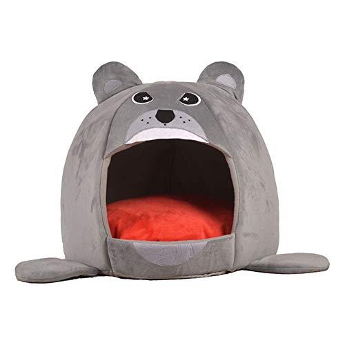 MMLsure® Kreativer Cartoon Bär Form Hundehöhle,Katzenhöhle,Hundebett,Katzenkorb, Hundekorb,Hundedecke für Innen Outdoor Winterfest,42 x 40 cm (Grau)