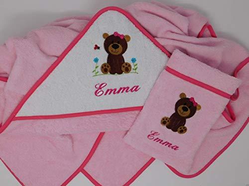 2 tlg. Kapuzenbadetuch Waschhandschuh Set 100 x100 personalisiert mit Namensstickerei Teddybär weiß rosa pink Geschenk Geburt Taufe Geburtstag Weihnachten Babybadetuch Taufgeschenk Handtuch Baby Baden