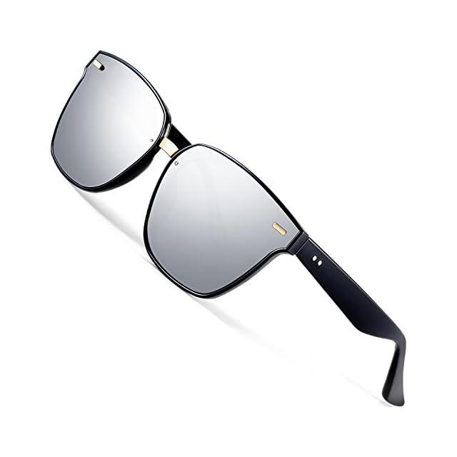 f80aa89928 ATTCL Mixte Polarisé Lunettes de soleil Garçon Homme UV 100% Protection  555-silver ...