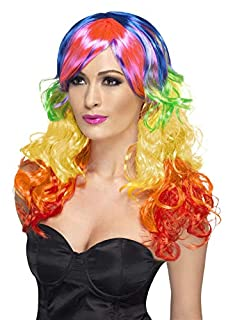 Smiffys Perruque bouclée arc-en-ciel, multi couleurs, cheveux longs, avec frange (B00BBLCVNQ) | Amazon Products