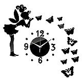 adesivo da parete CLOOM,removibile Angelo farfalla Specchio Adesivi murali Art Decal Decorazione per la casa in PVC Home decor Italiano Soggiorno Adesivo da Pareti Muri (Nero, 1PC)