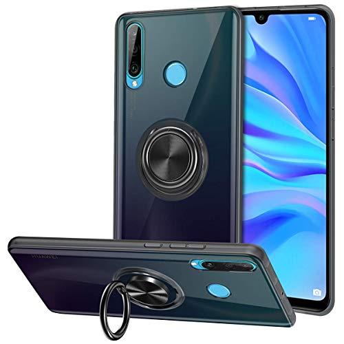 Vunake Huawei P30 Lite Hülle, Silikon TPU Slim Cover Transparent Ultradünn Handyhülle mit 360 Grad Ring Stand Magnetische Autohalterung Schutzhülle Case für Huawei P30 Lite- Clear Schwarz