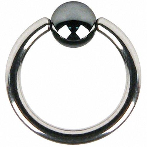 e Bead Ring Piercing Klemmring mit Klemm Kugel Septum Brust Tragus Helix Nase Lippe Ohr Intim Nippel Schwarz 1,0mm x 10mm x 4mm ()