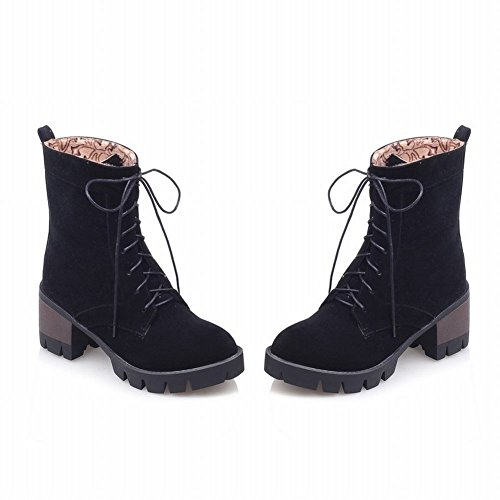 Mee Shoes Damen chunky heels runde Schnürsenkel Nubukleder