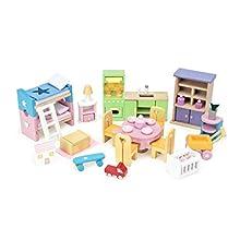 Le Toy Van ME040, Set Accessori in Legno per Casa delle Bambole, Multicolore