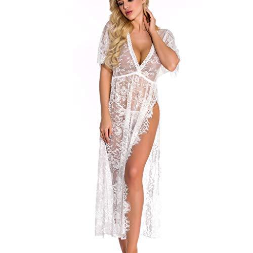 JYJM Lingerie Pyjama Femme Sexy Nuisette Robe de Chambre avec G-String Floral Transparent Dentelle Babydoll Chemise Vêtement de Nuit(Blanc,M)