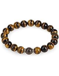 78038fa47089 Colorfey – Buda pulsera natural piedras 10 mm brillante ojo de tigre y  cuarzo ahumado estilo retro plata 925 cuentas…