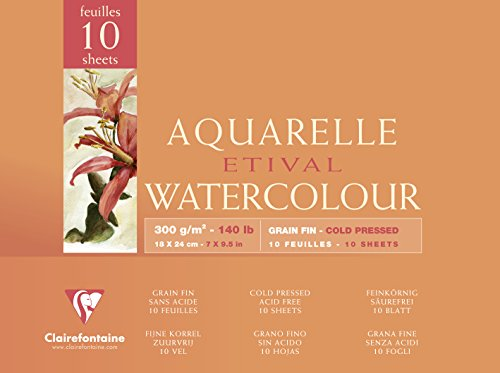 Clairefontaine 96570C Aquarellblock Etival (4-seitig verleimt, 10 Blatt, 300g, für alle...