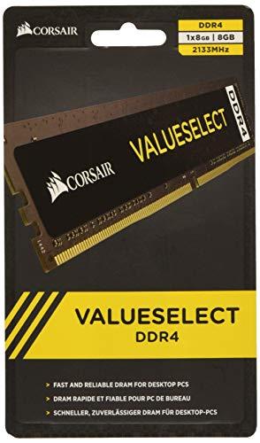 Corsair Value Select - Módulo de Memoria Principal de 8 GB (1 x 8 GB, DDR4, 2133 MHz, CL15), Negro (CMV8GX4M1A2133C15)