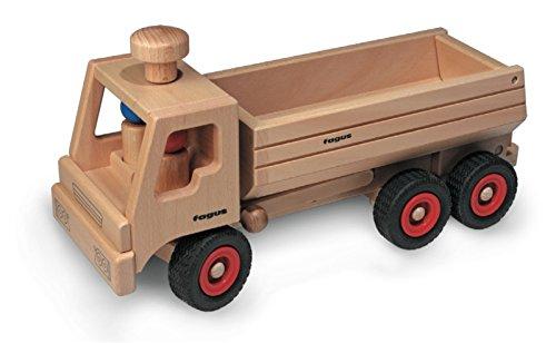 Preisvergleich Produktbild FAGUS Holzspielzeug - Muldenkipper-LKW + GRATIS 1 FAGUS Spiralscheibe (siehe zusätzliches Bild) - FAGUS Holzspielwaren Made in Germany, liebevoll von Menschen mit Behinderung gefertigt