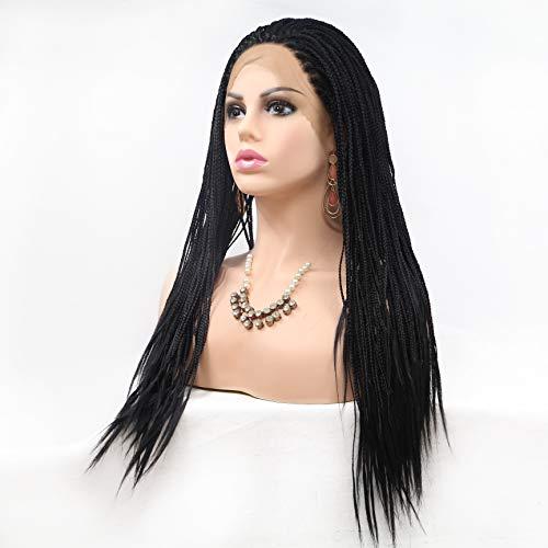 WQWIG Lace Front Perücken Voll Hand gebundenes Synthetisches Haar Geflochtene Hitzebeständige Haare Perücken Freies Teil mit dem Babyhaar für Schwarze Frauen Cornrow Braid Perücken (Mit Echthaar Perücken Teil)