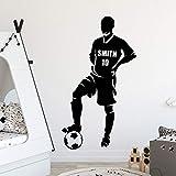 ganlanshu Nom personnalisé Joueur de Football Vinyle Autocollant Mural Papier Peint décoration Salon décoration de la Chambre 50cmX88cm