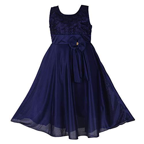 Princeandprincess Girl's Ethnic Dress Satin Lycra Frock (Blue, 12-13 Years)