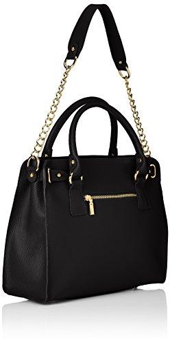 CTM Elegante Handtasche der Frau mit Außenschulterriemen für Schulter tragen, echtem Leder in Italien - 34x29x13 Cm Schwarz (Nero)