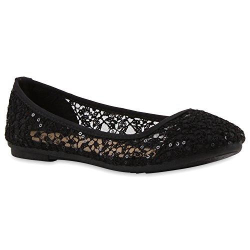 Damen Ballerinas | Slipper Flache Schuhe | Spitze Häkeloptik | Feminine Slip-ons | Stoffschuhe Strass Metallic Schwarz Strick Pailletten