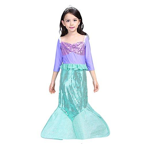 Vestito sirena bambina costume autunnale da principessa maniche lunghe con fascia per capelli/2-3y