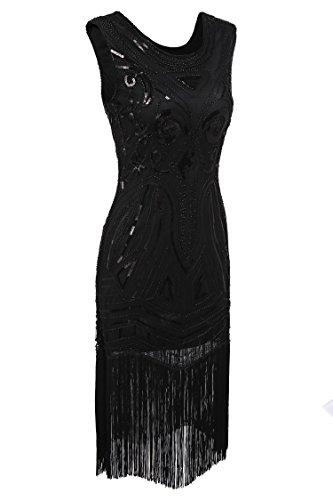 AIMADO Damen Gatsby 1920er Flapper Kleid, Diamant Pailletten Verschönert Schwarz2(schwarz Pailletten)