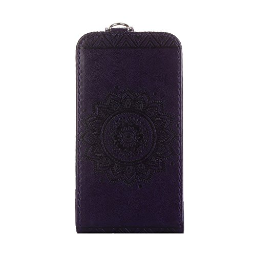 MOONCASE iPhone 4s Coque, Totem Embossed Housse en Cuir Etui à rabat Case avec Béquille pour iPhone 4 4s Vert Violet