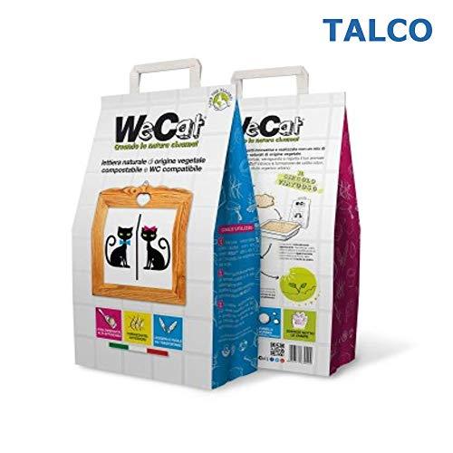 WE CAT LETTIERA Naturale VEGETALE COMPOSTABILE per Gatti AGGLOMERANTE, IGIENIZZANTE Talco 3/6/8 Sacchi da 6 Litri (3 Sacchi)