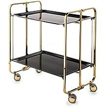 Carrito camarera armazón dorado, 2 bandejas negras. Cuatro posiciones fáciles de cambiar: cerrado, abierto, semi-plegado, bandeja inferior semi-plegada.