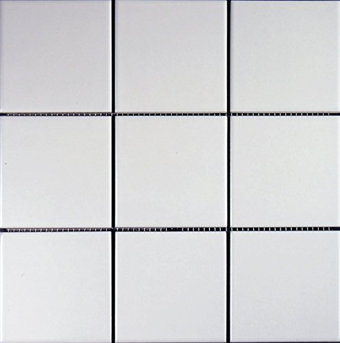 Keramikmosaik weiß matt ca. 10x10x0,65cm