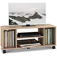 DEVAISE Mobile TV Stand Bookshelf Storage Shelf Unit, Wood, Oak, 90cm L x 30cm W x 38cm H