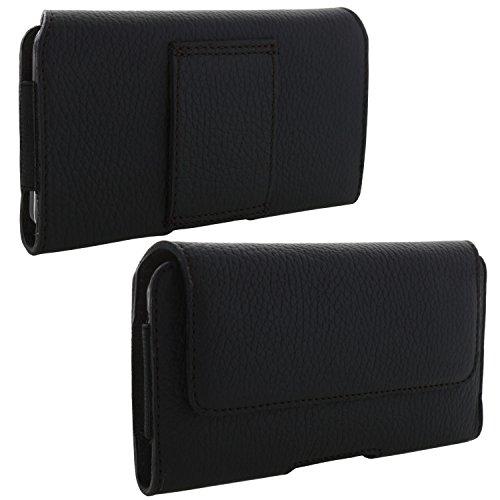 XiRRiX Echt Leder Handy Tasche 2.4 3XL Gürteltasche für Huawei Honor 7s 8 9 10 / P20 Lite/Samsung Galaxy A5 2017 / A6 J6 2018 - schwarz