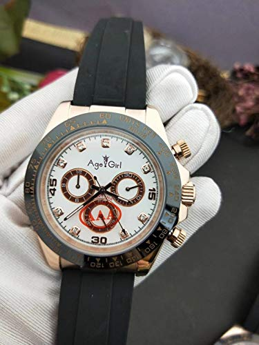 ZCCZJBXS Luxury Black Rubber Men Watch Sapphire Rose Gold Black Ceramic Bezel Automatic Mechanical Gents Daytona Watches AAA+ Rose Gold White -