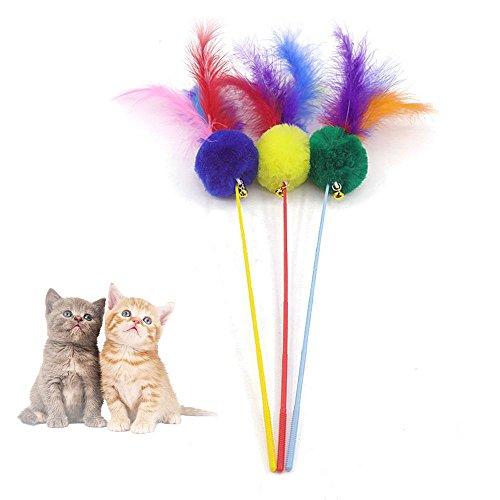 Pawaca cat toys piuma ricariche per cat toys interactive includono piume di ricambio, gatto giocattolo interattivo wand chewing sano e non tossico, pet fit for life multi feather teaser.