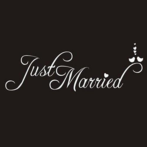 Yallylunn Just Married Wedding Window PVC Waterproof Sticker Decal Decor Car Decoration Es Nimmt Umweltschutzmaterial An Passen Perfekt