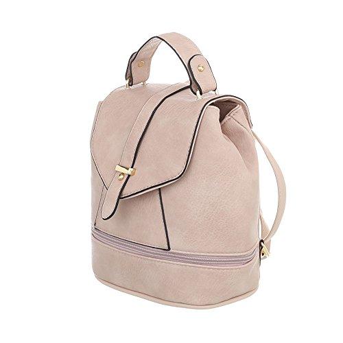 iTal-dEsiGn Damentasche Sehr Kleine Rucksack Used Optik Freizeittasche Kunstleder TA-B543 Beige Rosa