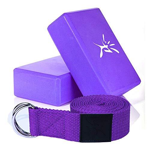 Ivim, 2 blocchi per yoga e pilates in schiuma e 1 cintura con anello a D per lo yoga e lo stretching, light purple