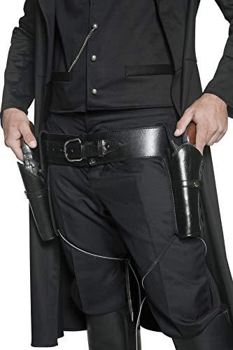 Halfter Kostüm - Smiffys Unisex Western Holster-Gürtel mit Beinriemen, 2 Holster, One Size, Schwarz, 36171