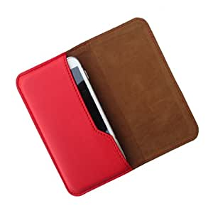 i-KitPit : PU Leather Flip Pouch Case Cover For HTC Desire P (RED)