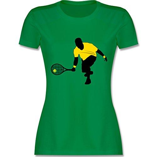 Tennis - Tennis Squash Kniend - tailliertes Premium T-Shirt mit Rundhalsausschnitt für Damen Grün