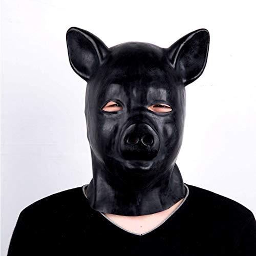 TINGSHOP Bondage Fetisch Maske Sexy Bondage Schwein Kopfbedeckung Schwarze Naturlatexmaske Erwachsenes SM-Sklaverei-Alternativspielzeug