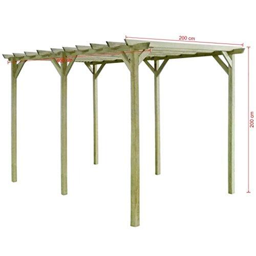 Festnight Pérgola de jardín de madera de pino impregnada 4x2x2m