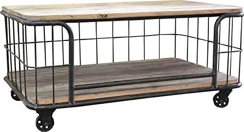 Antic line créations Table Basse métal et Bois Sour roulettes