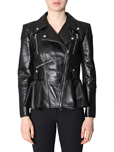 Alexander McQueen Damen 543753Q5LBB1000 Schwarz Leder Jacke