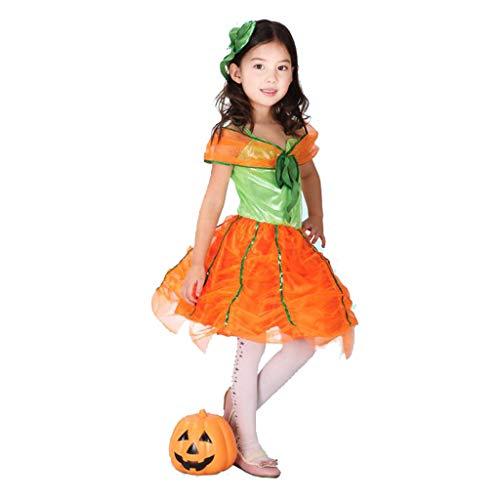 (Uus Halloween Kinderbekleidung, Kostümfest Prinzessin Kleid Kleines Kleid Kürbis Kleid Mädchen Kleidung (Farbe : C, größe : M(120-130cm)))