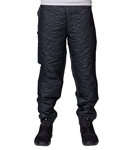 Jordan Men's Nike AJ VII Quilted Fleece Jogger Pants-Black/Dark Gray-Small Jordan Mens Fleece