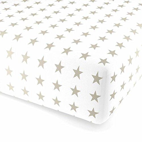 F2F Stars Sterne Flanell Spannlaken Bettlaken Spannbetttuch I Größe 90 x 200 cm I Farbe Weiss-Natur I kuscheliges Baumwolle Flanell