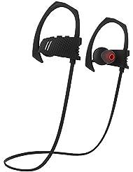 Ecandy Inalámbrica Bluetooth Auriculares Sport Sweatproof IPX4 Fit estable en la oreja los auriculares Ruido ergonómico del gancho del oído del receptor de cabeza Cancelación de auriculares estéreo de 6 horas de tiempo de trabajo con el Mic para el entrenamiento de la gimnasia Running (negro)