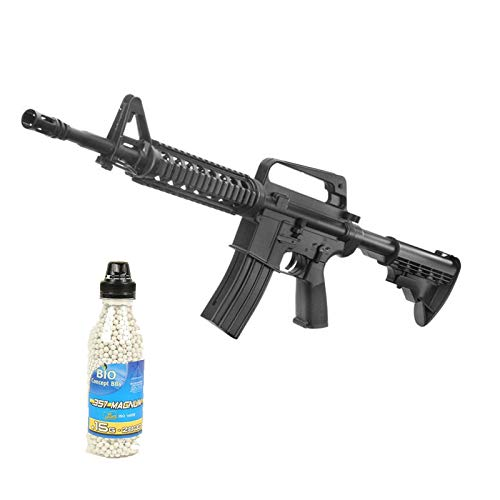 Well Airsoft Pack M4 Rifle de Asalto de Primavera, Botella de 2000 Bolas ofrecidas (0.4 Julios) MR700