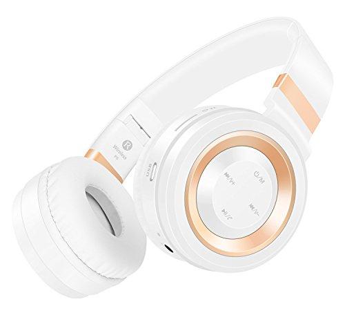 Sound Intone P6 Bluetooth 4.0 cuffie stereo, Hi-Fi con cancellazione del rumore In Ear auricolare senza fili, con configurazione in microfono e controllo del volume, è dotato di cavo audio, compatibile con la maggior Cellulari / PC / TV / iPhone / Samsung / Laptop (bianca/oro)