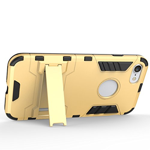 Wkae Case Cover 2 en 1 New Armour style dur hybride double couche Armure Defender PC Disques Etui avec support antichoc Case pour iPhone 7 ( Color : Black , Size : IPhone 7 ) Silver